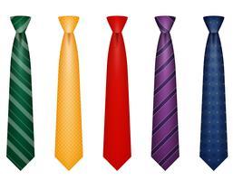 set ikoner färger slips för män en kostym vektor illustration