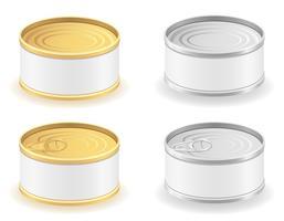 Metalldose kann Ikonenvektorillustration einstellen
