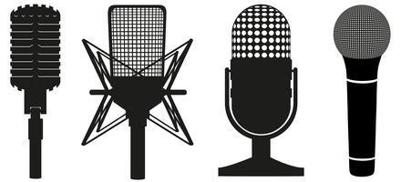Ikonensatz der Schattenbild-Vektorillustration der Mikrofone schwarze