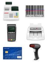 handel bankutrustning för en butik uppsättning ikoner lager vektor illustration