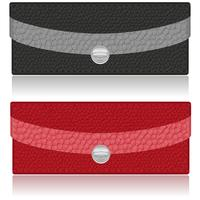 schwarze und rote Geldbörse aus Leder