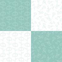 aquabla gröna och vita botaniska blommönster vektor