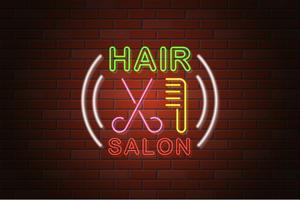 glödande neon skylt hårsalong vektor illustration
