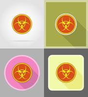teckna biohazard platt ikoner vektor illustration