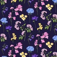 botanisches Blumenmuster auf schwarzem Hintergrund vektor