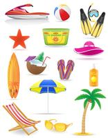 uppsättning strand ikoner vektor illustration