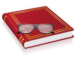 rote Buch- und Glasvektorabbildung