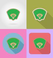 flache Ikonenvektorillustratio des Baseballfeldes vektor
