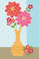 Zinnien in Vasengrafik Platzierung vektor