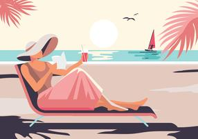 Entspannte Frau, die Sonnenschein beim Entspannen auf dem Strand genießt vektor