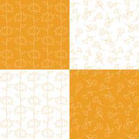 apelsin och vita botaniska blommönster vektor