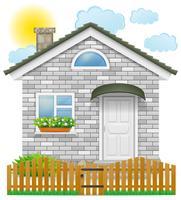 litet hus med ett träd staket vektor illustration