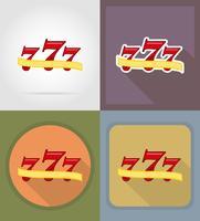 Ikonen-Vektorillustration mit sieben Jackpotkasinos flache
