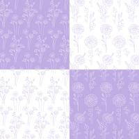 lavendel och vita handdragen botaniska mönster vektor