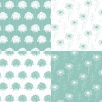 vita och aqua blågrön handgjorda botaniska blommönster vektor