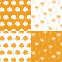 vita och orange handgjorda botaniska blommönster vektor