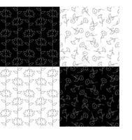svartvita botaniska blommönster vektor