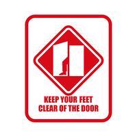 Håll dina händer och fötter borta från dörren isolerad på vit bakgrund