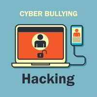 Internet mobbning på internet för cyber mobbning koncept vektor