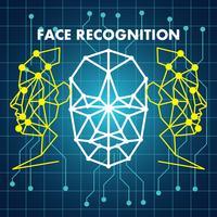 Erkennungssystem für die Erkennung des menschlichen Gesichts vektor
