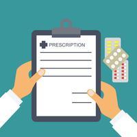 Rezept vom Arzt für Gesundheits- und medizinische Konzepte vektor