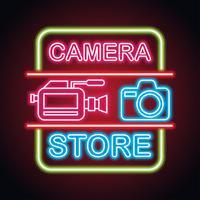 Kameraausrüstung mit Neonzeicheneffekt für den Kamerageschäft vektor