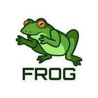 Logo des grünen Frosches lokalisiert auf weißem Hintergrund vektor