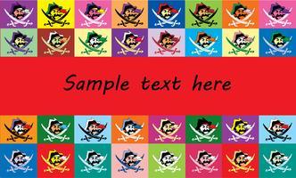 Hintergrundtextrahmen mit mehrfarbiger Flaggen Jolly Roger