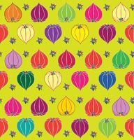 Blumenfall nahtloser Muster Physalishintergrund. Blühende Gartenbeschaffenheit