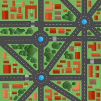 Stadens plan med gator och hus vektor