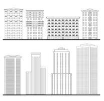 Stadtgebäude gesetzt. Entwurf Blueprint. Wolkenkratzer Gebäudefassade.