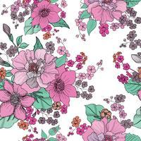 Floral sömlös bakgrund. Blommönster.
