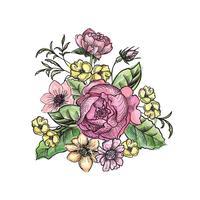Blombukett. Blomram. Blomstra hälsningskort. Sommarinredning vektor