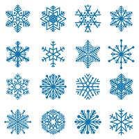 Snowflake set. Snö ikoner. Vinterferie tecken. Julsymboler