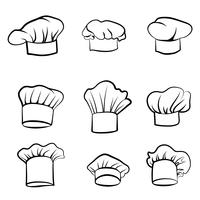 Kochmütze Hutkoch gezeichnet. Hut-Koch-Kocher-Set. Küche zeichen vektor
