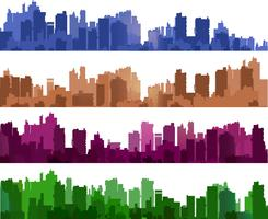 Stadtsilhouetten von verschiedenen Farben auf Weiß vektor