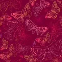 Butterfly sömlös mönster. Sommarlov djurliv blommig bakgrund. vektor