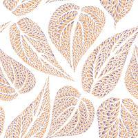 Blomönster med löv Natur sömlös bakgrund. Fall dekor vektor