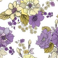 Blommor graverade sömlösa mönster. Blomsterträdgårdsbakgrund