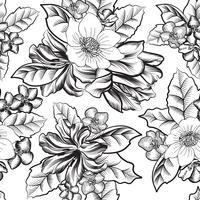 Floral graviertes nahtloses Muster. Blumengarten Hintergrund vektor