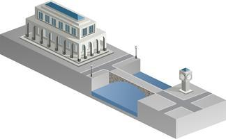 Isometrisches Gebäude mit einem Fluss vektor