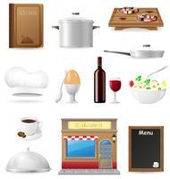 Stellen Sie Küchenikonen für das Restaurant ein, das Vektorillustration kocht