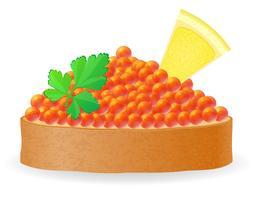 Sandwich mit roter Kaviarzitrone und Petersilienvektorillustration