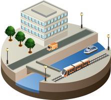Vektor isometrische Ansicht der Stadt