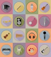 Flache Ikonen der Musikgegenstände und der Ausrüstung vector Illustration