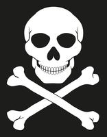 Piraten-Totenkopf mit gekreuzter Knochen-Vektor-Illustration vektor