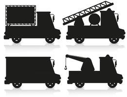 bil ikonuppsättning svart silhuett vektor illustration
