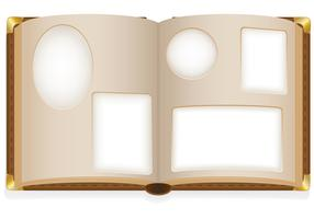 altes offenes Fotoalbum mit leeren Fotos vector Illustration