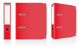 Rote Mappen-Metallringe des Ordners für Bürovektorillustration