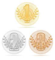 Laureate-Kranz-Siegersportgoldsilberbronzenvorrat-Vektorillustration